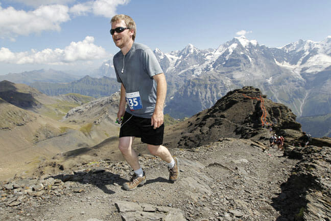 Troy Haines, Owner of Alpine Hikers, tackling the Inferno Half Marathon in Mürren, a trail race with over 2,000 meters of climbing.