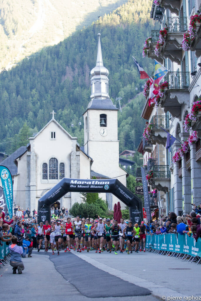 And.... they're off. Racers depart Chamonix for the mountains in the Marathon du Mont-Blanc
