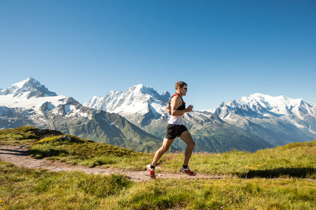 US runner Max King cruises along L'Aiguillette des Posettes at the Marathon du Mont-Blanc course. Photo courtesy of Infocimes, © Gaetan Haugeard.