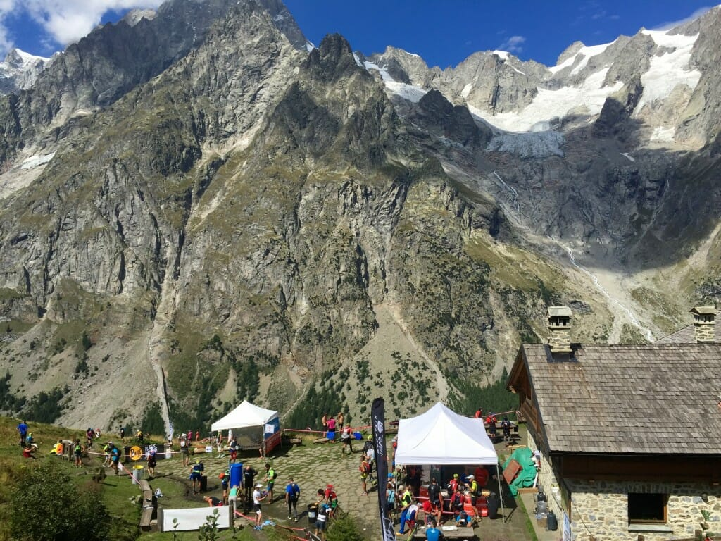 Aid station with a view. Refuge Bonnati, Val Ferret, Italy.