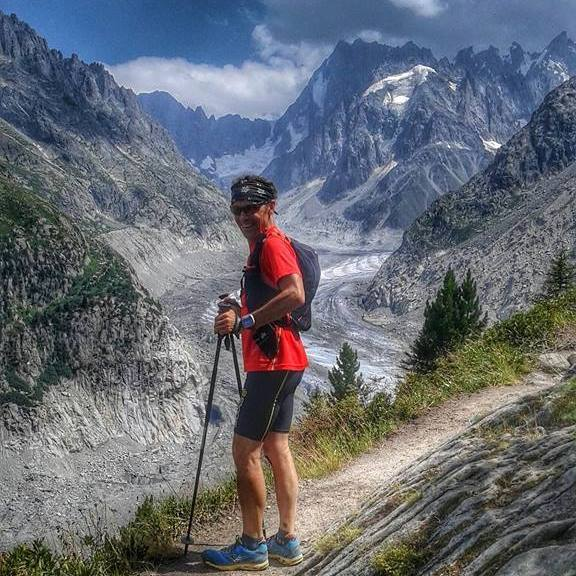 Alain above Chamonix, with the Mer de Glace in the distance. (Photo courtesy of Alain Bustin.)