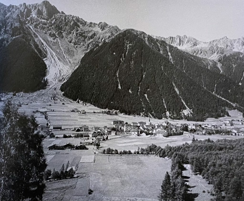The Brevent as seen from Chamonix in a classic old photo.